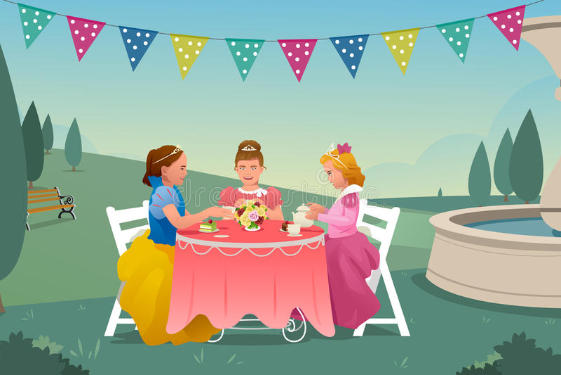 Νέα κορίτσια που έχουν ένα κόμμα τσαγιού διανυσματική απεικόνιση
