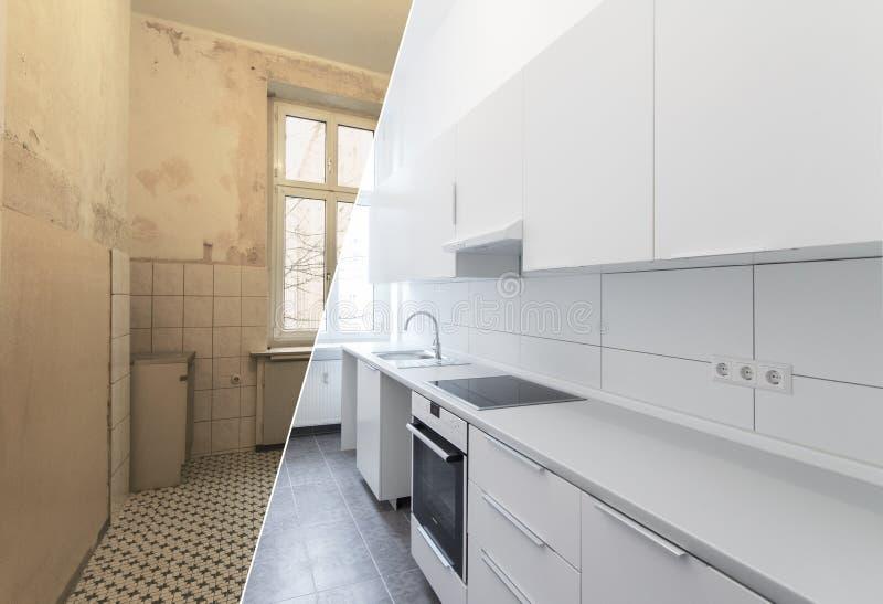 Νέα κουζίνα πριν και μετά από την ανακαίνιση - άσπρη κουζίνα, στοκ φωτογραφίες