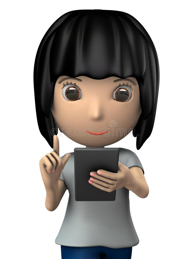 Νέα κυρία που διαβάζει τις ειδήσεις σε ένα smartphone περπατώντας διανυσματική απεικόνιση
