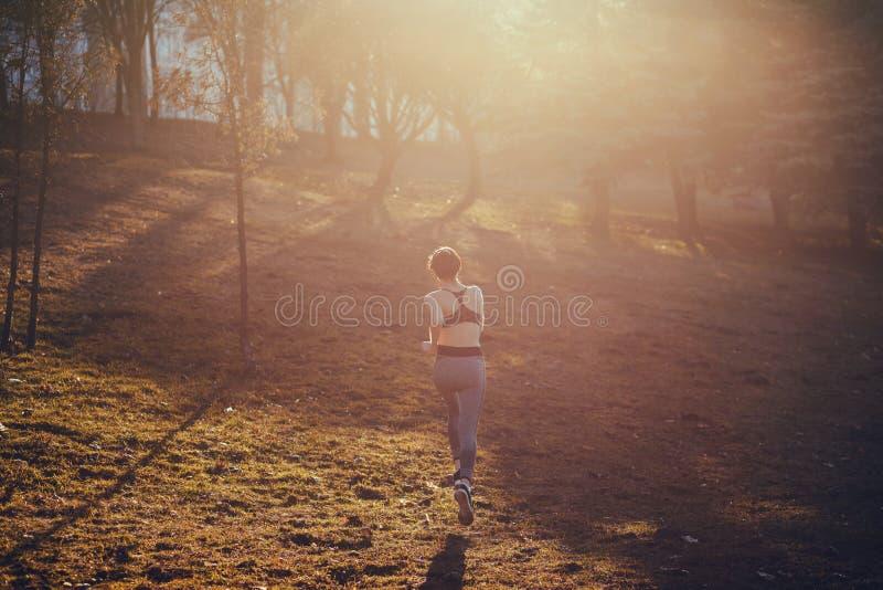 Νέα κυρία που τρέχει στο πάρκο στοκ φωτογραφία