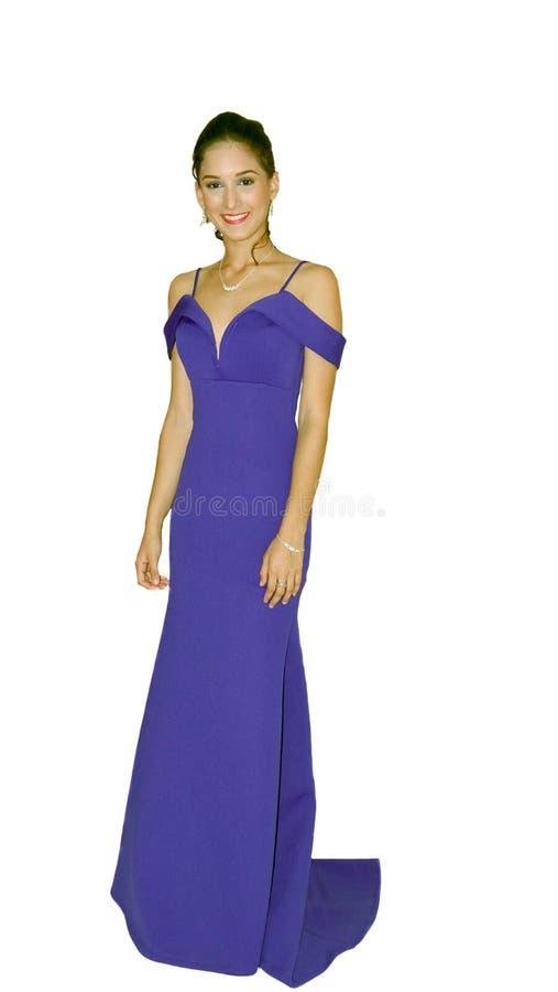 Νέα κυρία που φορά ένα μπλε φόρεμα στοκ φωτογραφίες με δικαίωμα ελεύθερης χρήσης