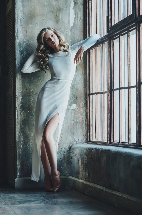 Νέα λεπτή γυναίκα στο φόρεμα στοκ εικόνες