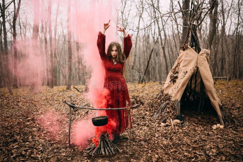 Νέα μάγισσα στο δάσος φθινοπώρου στοκ φωτογραφίες
