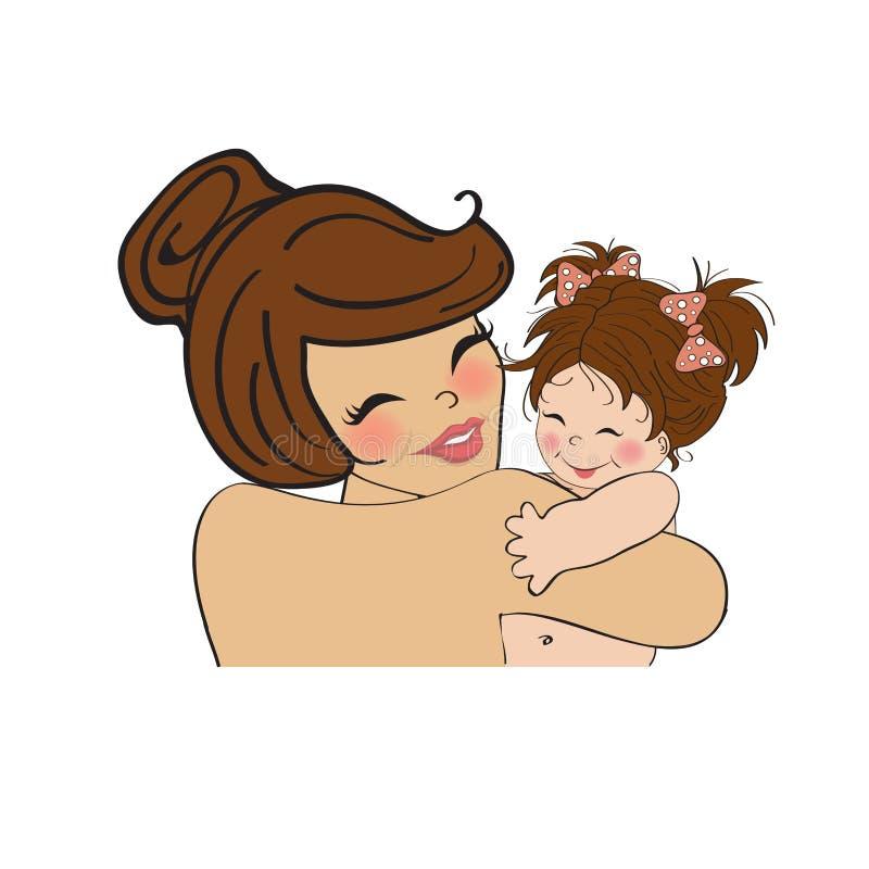Νέα μητέρα που κρατά ένα νέο κοριτσάκι απεικόνιση αποθεμάτων