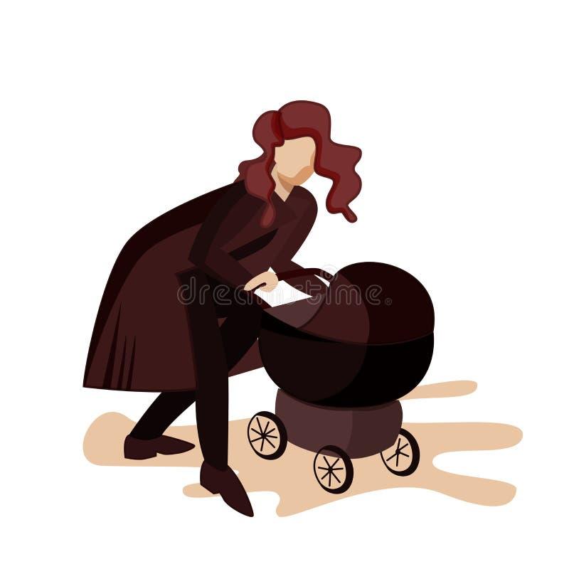 Νέα μητέρα που περπατά με έναν νεογέννητο Διανυσματική επίπεδη απεικόνιση απεικόνιση αποθεμάτων