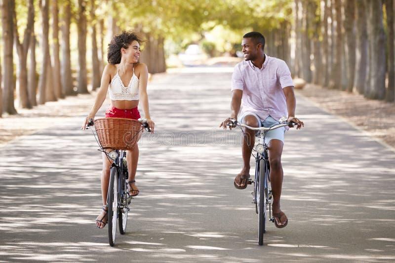 Νέα μικτά οδηγώντας ποδήλατα ζευγών φυλών που εξετάζουν το ένα το άλλο στοκ εικόνα