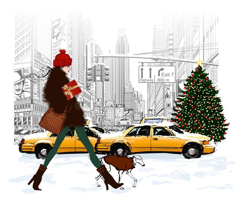 Νέα μοντέρνη γυναίκα που ψωνίζει στη Νέα Υόρκη διανυσματική απεικόνιση