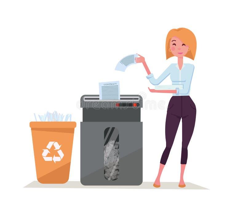 Νέα μοντέρνη εργαζόμενη γυναίκα γραφείων που τεμαχίζει το σωρό των εγγράφων Απόβλητα εγγράφου στο πλαστικό δοχείο ανακύκλωσης Μεγ διανυσματική απεικόνιση