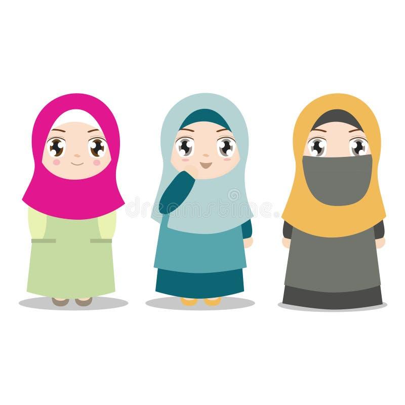 Νέα μουσουλμανικά κορίτσια με τα διαφορετικά ενδύματα διανυσματική απεικόνιση
