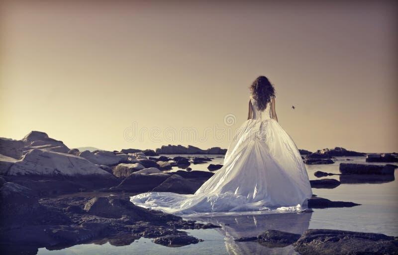 Νέα νύφη που στέκεται σε έναν απότομο βράχο στη θάλασσα στοκ φωτογραφίες με δικαίωμα ελεύθερης χρήσης