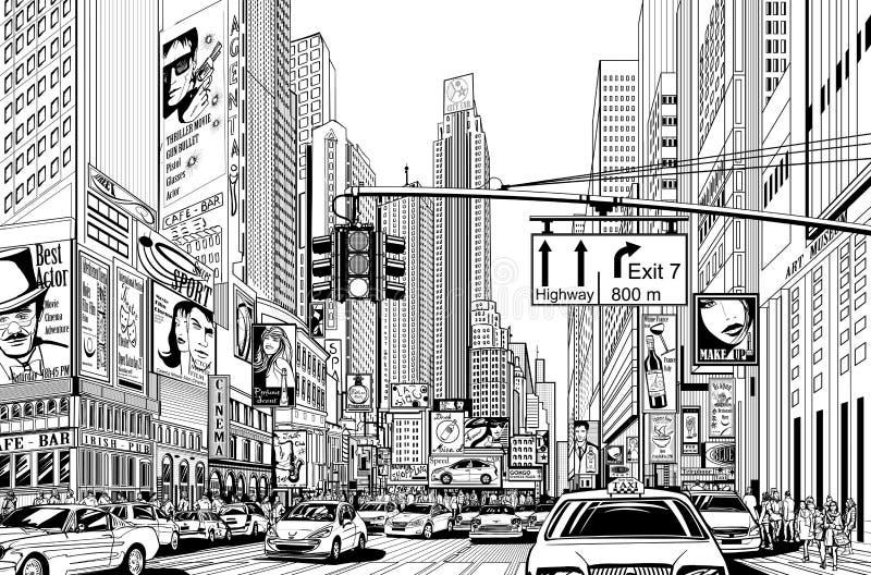 νέα οδός Υόρκη πόλεων διανυσματική απεικόνιση