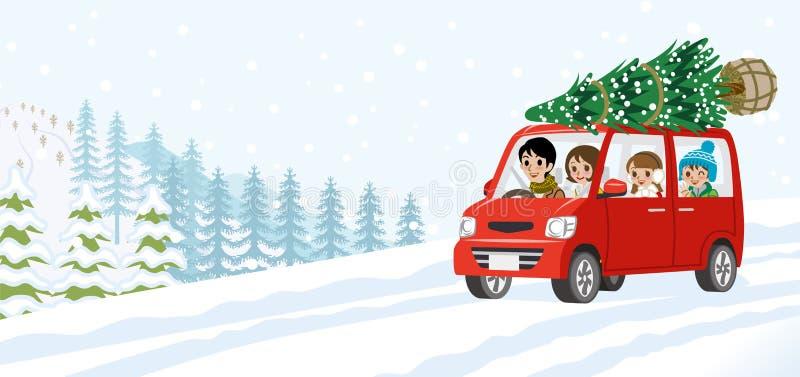 Νέα οικογένεια κινούμενων σχεδίων που οδηγά το αυτοκίνητο που φόρτωσε τα Χριστούγεννα τ διανυσματική απεικόνιση
