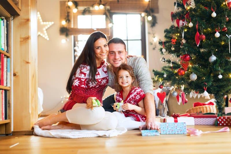 Νέα οικογένεια με το daugter στο χριστουγεννιάτικο δέντρο στο σπίτι στοκ εικόνες με δικαίωμα ελεύθερης χρήσης