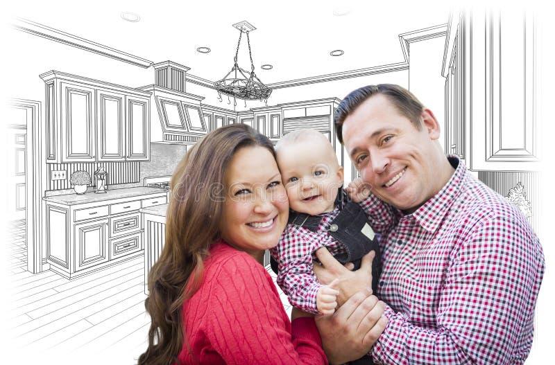 Νέα οικογένεια πέρα από την κουζίνα συνήθειας και το σχέδιο σχεδίου στοκ εικόνες με δικαίωμα ελεύθερης χρήσης
