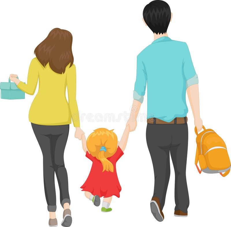 Νέα οικογένεια που περπατά με την λίγη κόρη σε ένα νέο σχολείο ελεύθερη απεικόνιση δικαιώματος