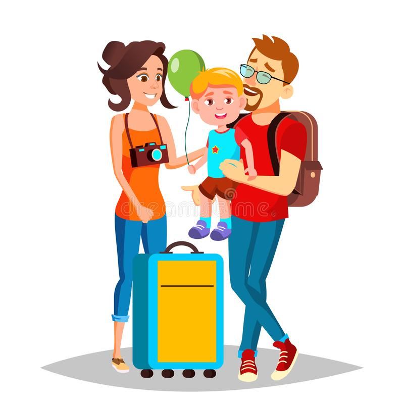Νέα οικογένεια που ταξιδεύει με ένα μικρό διάνυσμα παιδιών απομονωμένη ωθώντας s κουμπιών γυναίκα έναρξης χεριών απεικόνιση ελεύθερη απεικόνιση δικαιώματος