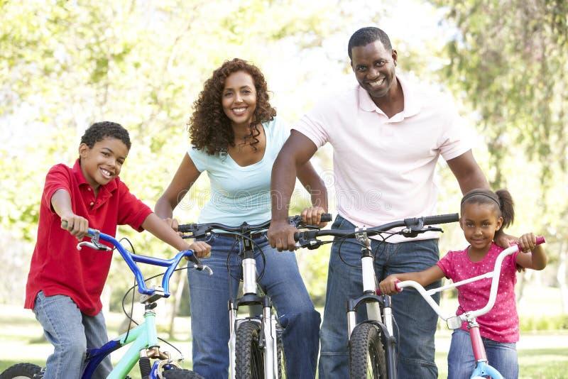 Νέα οικογενειακά οδηγώντας ποδήλατα στο πάρκο στοκ εικόνα