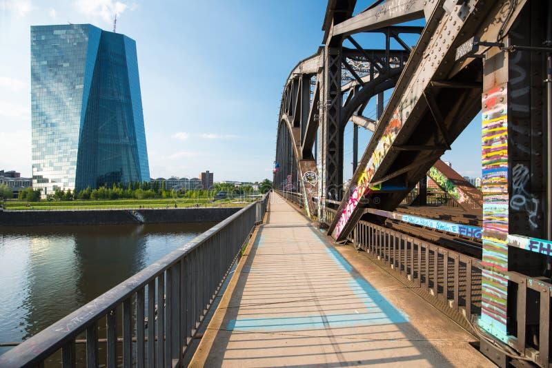 Νέα οικοδόμηση της ΕΚΤ Ευρωπαϊκών Κεντρικών Τραπεζών στη Φρανκφούρτη στοκ εικόνες