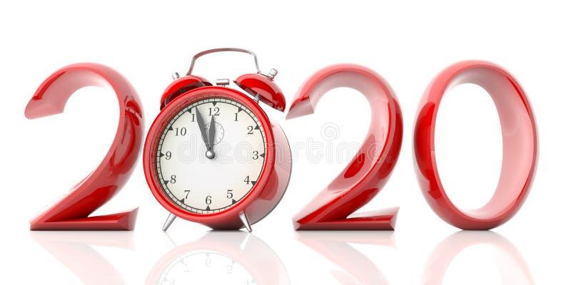 Νέα παραμονή έτους 2020, κόκκινα ψηφία και ξυπνητήρι που απομονώνονται στο άσπρο υπόβαθρο τρισδιάστατη απεικόνιση διανυσματική απεικόνιση