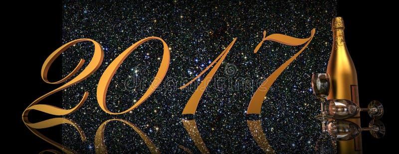 Νέα παραμονή 2017 έτους ελεύθερη απεικόνιση δικαιώματος