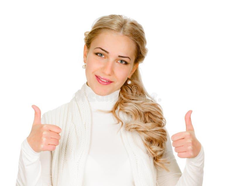 Νέα παρουσίαση γυναικών αντίχειρες επάνω στοκ εικόνες με δικαίωμα ελεύθερης χρήσης