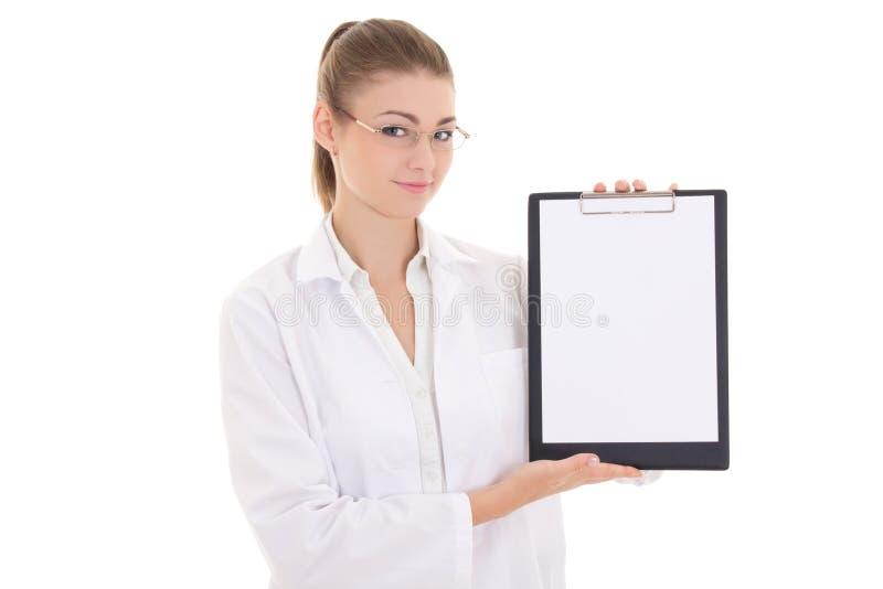 Νέα περιοχή αποκομμάτων εκμετάλλευσης γιατρών γυναικών με το copyspace που απομονώνεται επάνω στοκ εικόνες