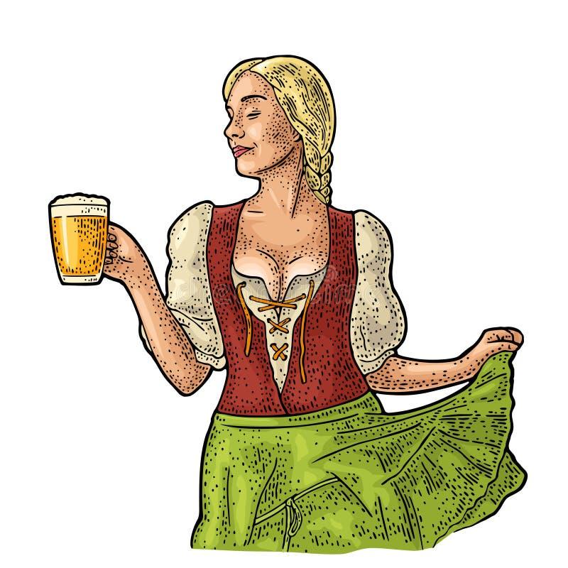Νέα προκλητική κούπα μπύρας εκμετάλλευσης γυναικών Oktoberfest Εκλεκτής ποιότητας διανυσματική χάραξη απεικόνιση αποθεμάτων