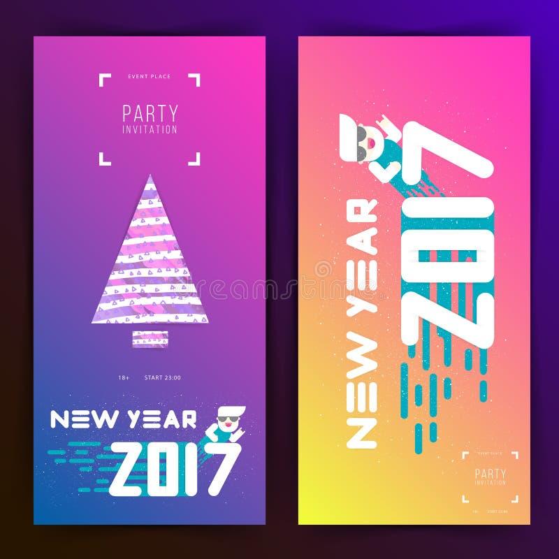 Νέα πρόσκληση κομμάτων έτους 2017 Επίπεδο σχέδιο Μεγάλες άσπρες επιστολές με το χριστουγεννιάτικο δέντρο μορφές απλές επίσης core διανυσματική απεικόνιση
