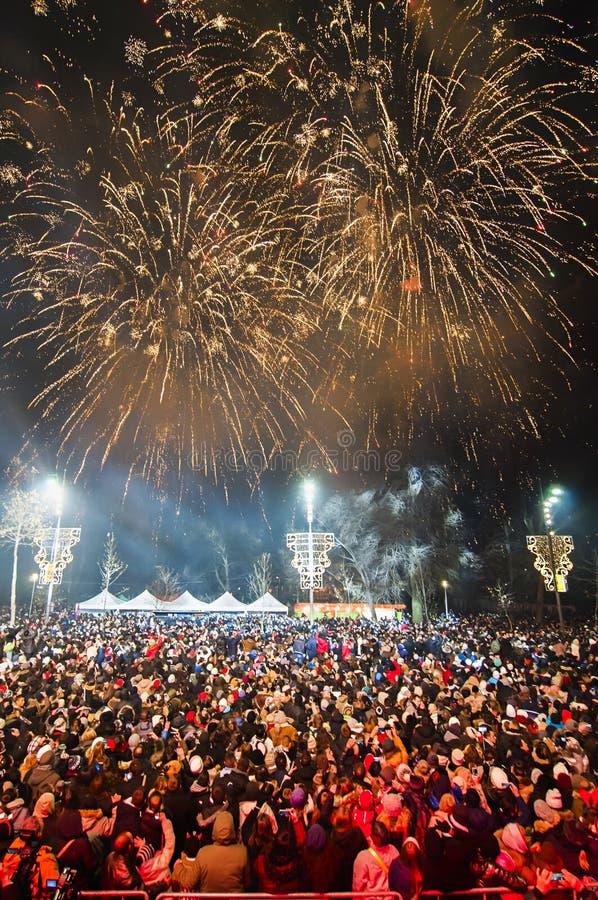 Νέα πυροτεχνήματα έτους ` s σε Βελιγράδι στοκ εικόνα
