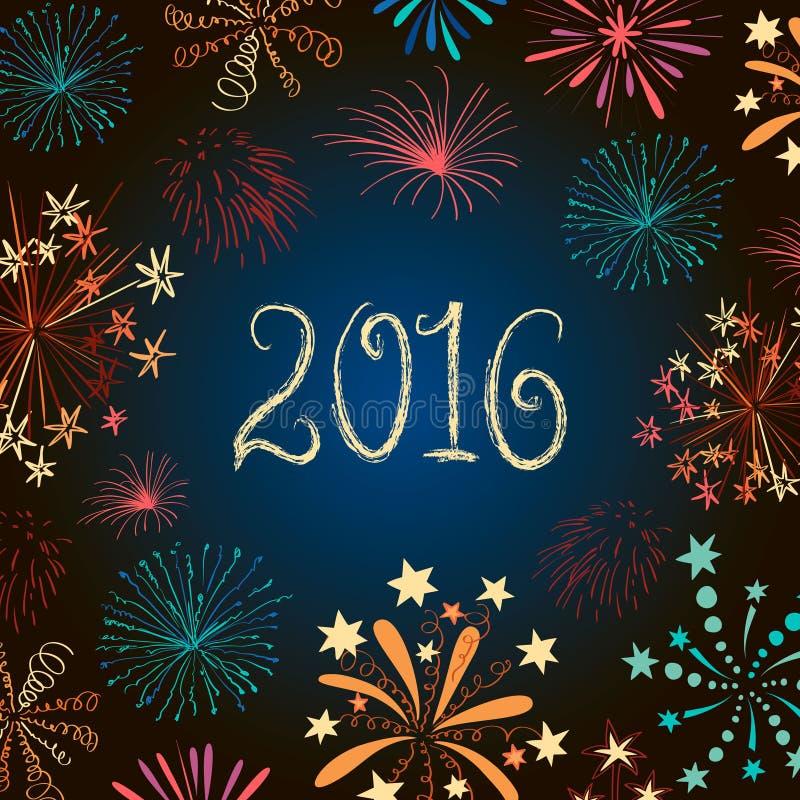 Νέα πυροτεχνήματα 2016 παραμονής έτους ελεύθερη απεικόνιση δικαιώματος