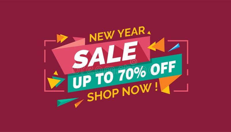 Νέα πώληση έτους, ζωηρόχρωμη ετικέτα εμβλημάτων πώλησης, κάρτα πώλησης Promo ελεύθερη απεικόνιση δικαιώματος