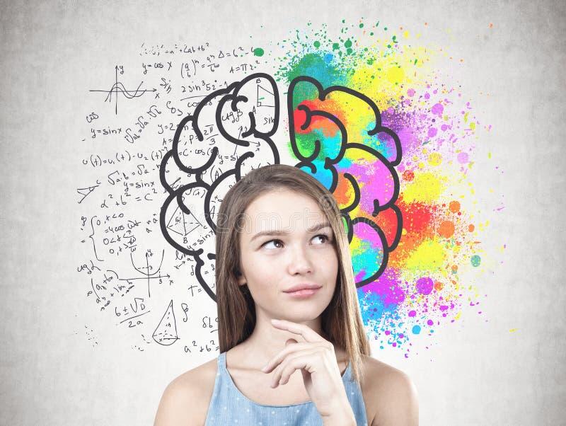 Νέα σκεπτική γυναίκα, δημιουργικός εγκέφαλος στοκ φωτογραφία με δικαίωμα ελεύθερης χρήσης