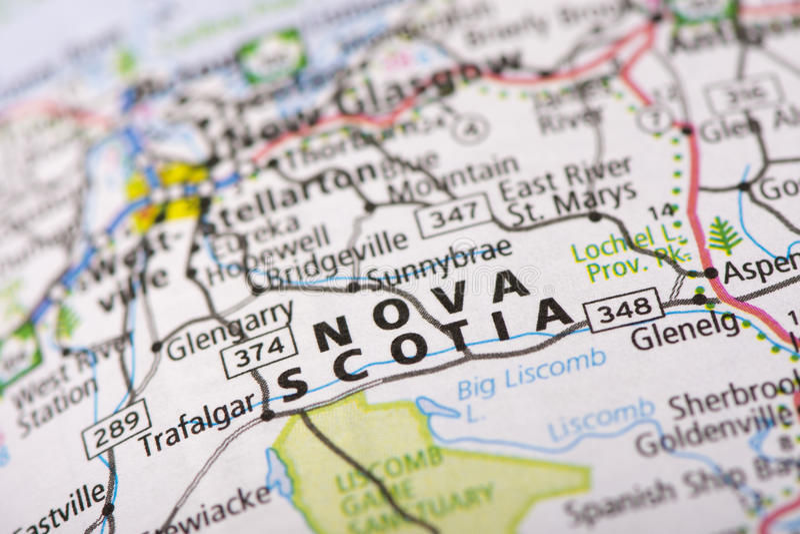 Νέα Σκοτία στο χάρτη στοκ φωτογραφία