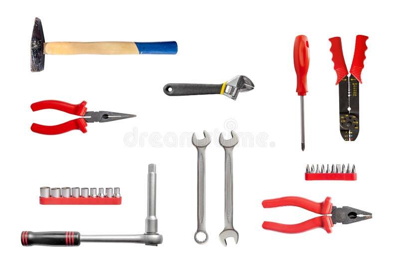 Νέα σκουριασμένα μηχανικά εργαλεία που απομονώνονται στο λευκό στοκ εικόνες με δικαίωμα ελεύθερης χρήσης