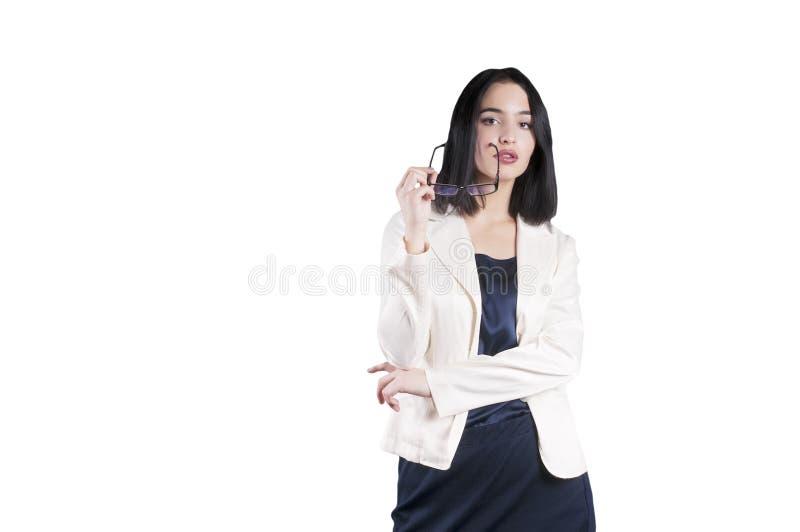 Νέα σοβαρή εταιρική απομονωμένη εκμετάλλευση κυρία επιχειρηματιών, εμπειρογνώμονας στοκ φωτογραφία