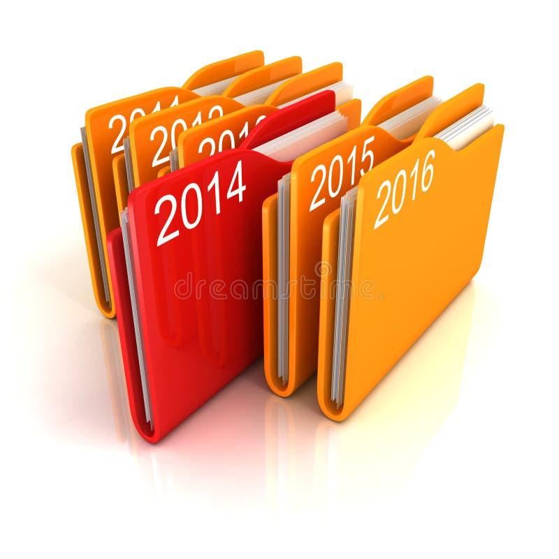 Νέα του 2014 σειρά φακέλλων αρχείων από χαρτί γραφείων έτους κόκκινη απεικόνιση αποθεμάτων