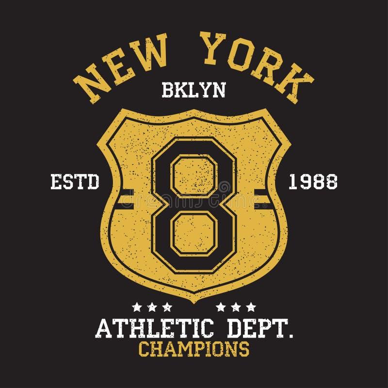 Νέα Υόρκη, εκλεκτής ποιότητας αριθμός BKLYN γραφικός για την μπλούζα Αρχικό σχέδιο ενδυμάτων με το grunge και την ασπίδα Τυπογραφ διανυσματική απεικόνιση