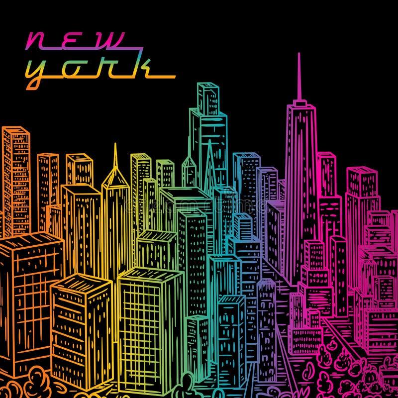 Download Νέα Υόρκη Εκλεκτής ποιότητας ζωηρόχρωμο συρμένο χέρι τοπίο πόλεων νύχτας επίσης Corel σύρετε το διάνυσμα απεικόνισης Διανυσματική απεικόνιση - εικονογραφία από cityscape, arroyos: 62719940