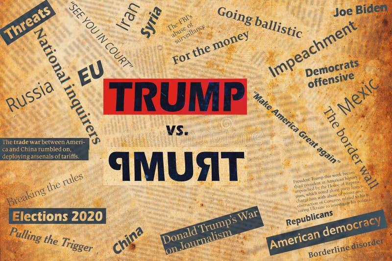 Νέα Υόρκη, ΗΠΑ - 04 Ιανουαρίου 2020: Άτακτο κολάζ με τίτλους εφημερίδων και κείμενο για τον Πρόεδρο των ΗΠΑ Ντόναλντ Τραμπ στοκ φωτογραφία με δικαίωμα ελεύθερης χρήσης