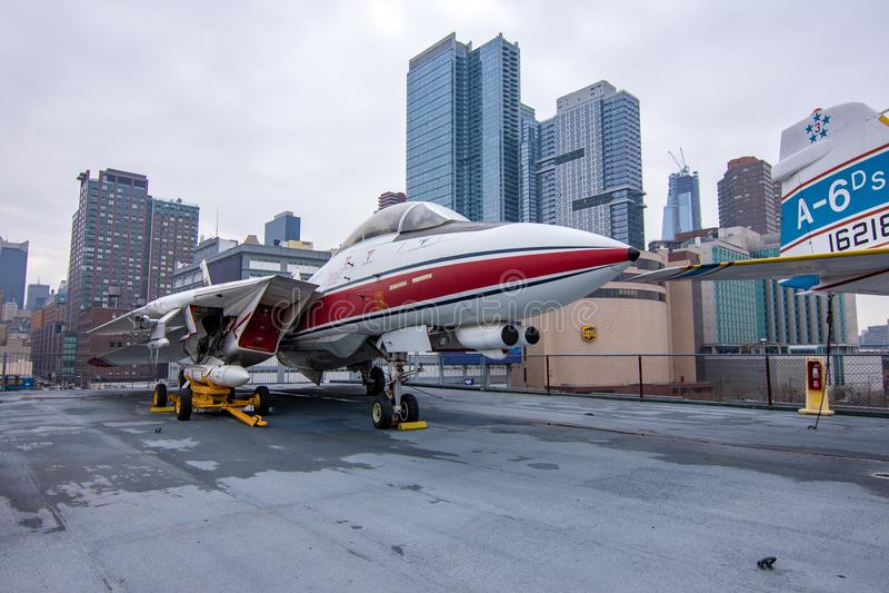 Νέα Υόρκη, ΗΠΑ - 30 Μαρτίου 2018: Το tomcat πολεμικό αεροσκάφος φ-14 όπως στοκ φωτογραφία