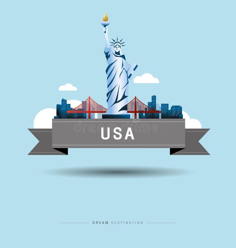 Νέα Υόρκη και άγαλμα της ελευθερίας, Ηνωμένες Πολιτείες, ορόσημο ελεύθερη απεικόνιση δικαιώματος