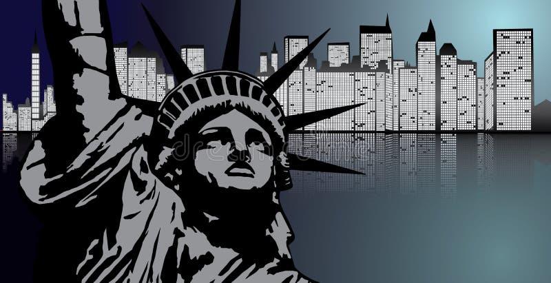 Νέα Υόρκη και άγαλμα της ελευθερίας στο διάνυσμα νύχτας διανυσματική απεικόνιση