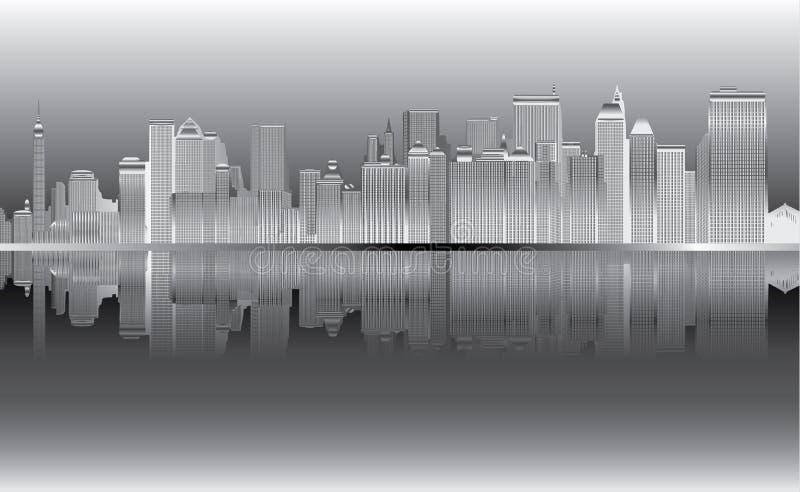 Νέα Υόρκη στο διάνυσμα νύχτας διανυσματική απεικόνιση
