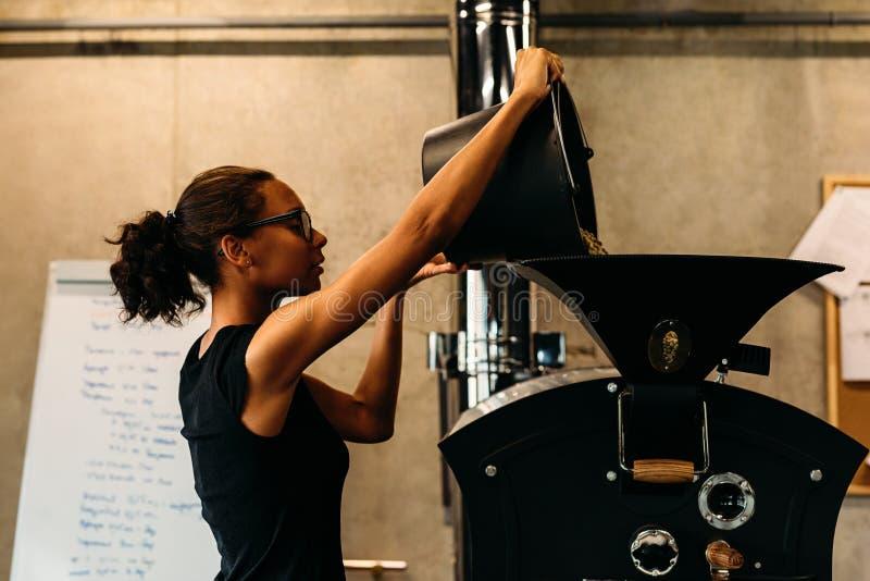 Νέα φασόλια καφέ επιχειρηματιών χύνοντας σε μια ψήνοντας μηχανή στοκ εικόνα
