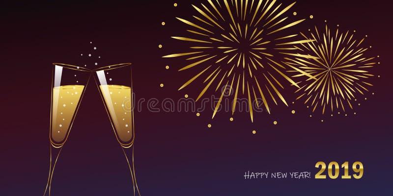 Νέα χρυσά πυροτεχνήματα έτους και γυαλιά σαμπάνιας απεικόνιση αποθεμάτων