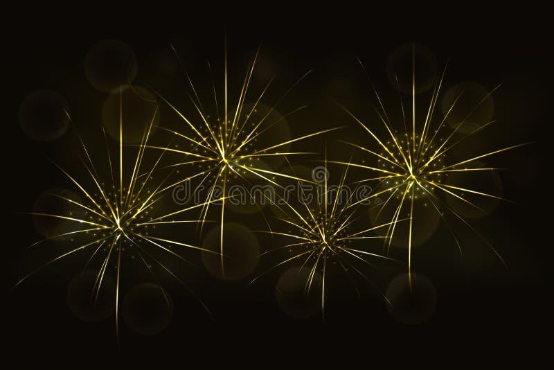 Νέα χρυσά πυροτεχνήματα παραμονής ετών με το θολωμένο καμμένος χρυσό bokeh απεικόνιση αποθεμάτων