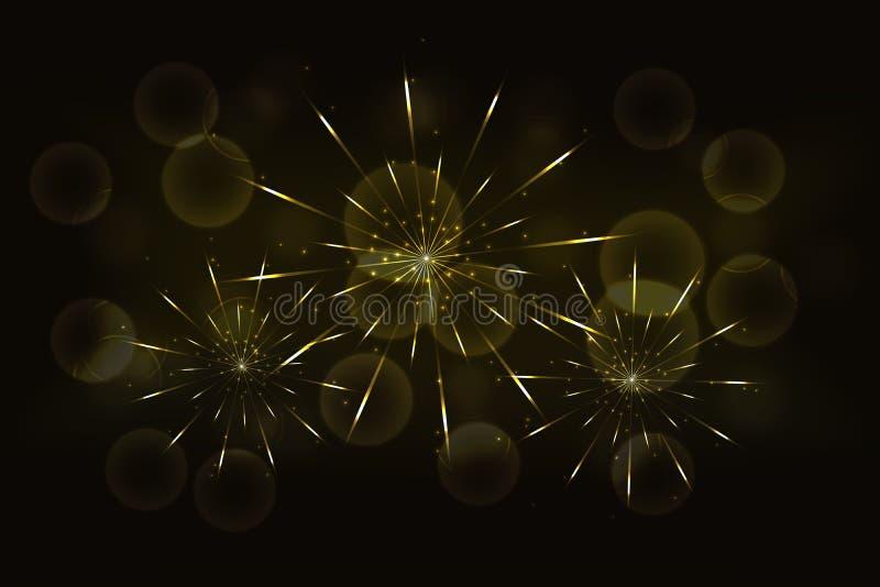 Νέα χρυσά πυροτεχνήματα παραμονής ετών με το θολωμένο καμμένος χρυσό bokeh ελεύθερη απεικόνιση δικαιώματος