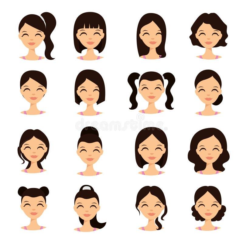 Νέα όμορφα όμορφα πρόσωπα γυναικών με τα διαφορετικά hairstyles διανυσματική απεικόνιση
