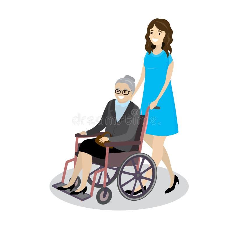 Νέα όμορφη γιαγιά ρόλων γυναικών κινούμενων σχεδίων στην αναπηρική καρέκλα διανυσματική απεικόνιση