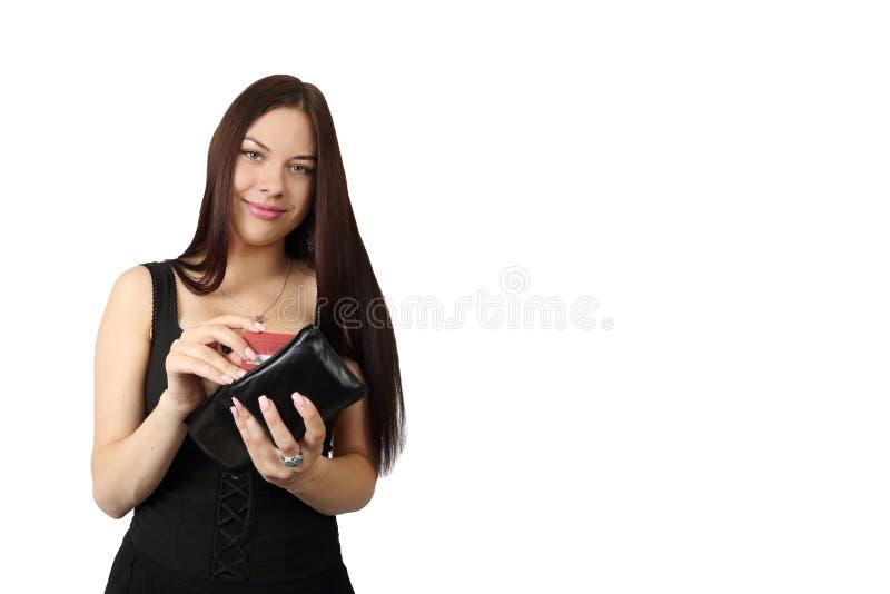 Νέα όμορφη γυναίκα με το πορτοφόλι στοκ εικόνες
